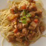 bravčové mäso so špagetami