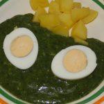 špenát s vajcom
